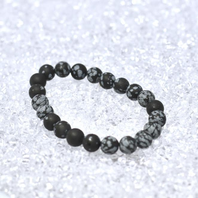 Snowflake Obsidian Matte 8mm Bracelet - BOGO
