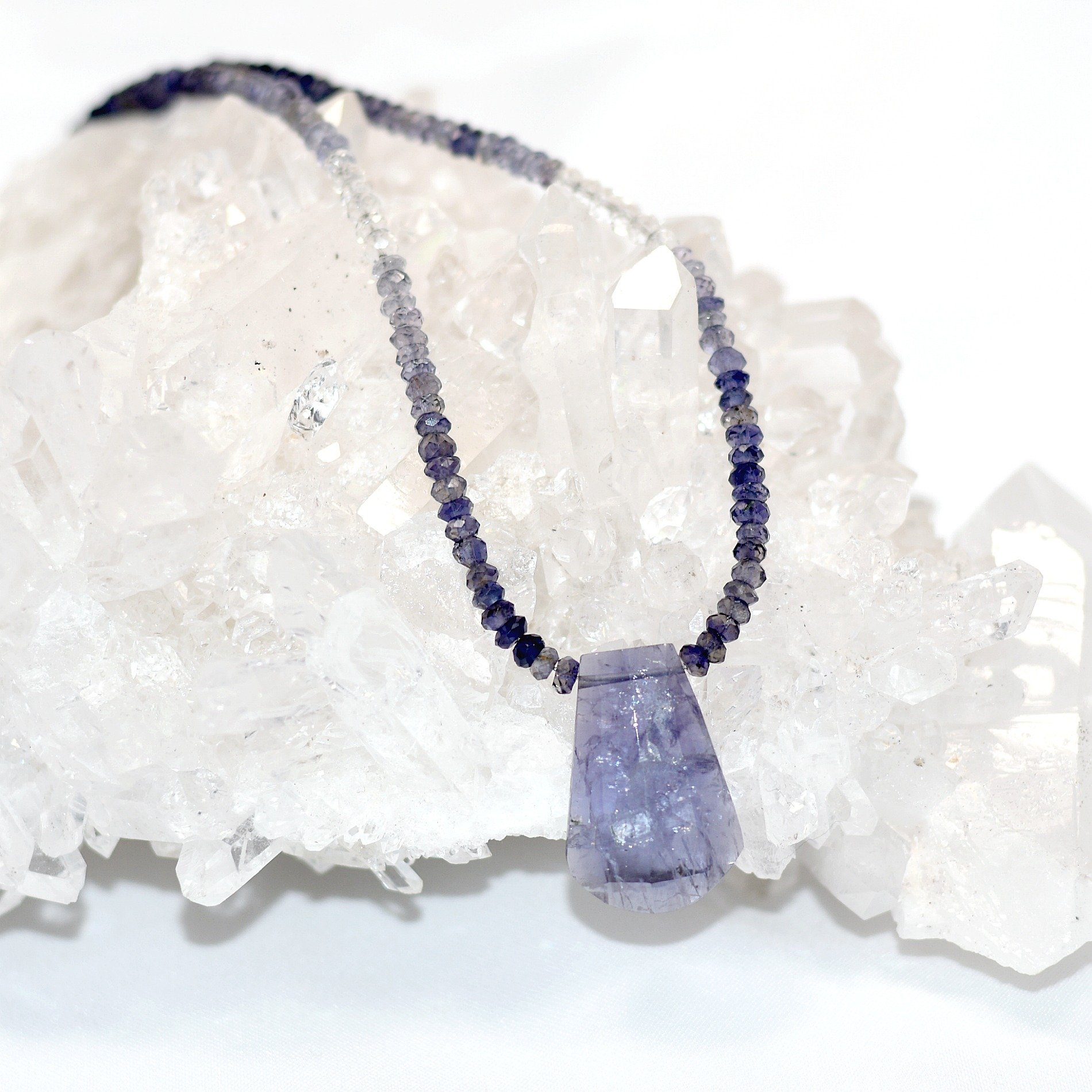 and home zoom gemstone silver tanzanite loading necklace blue druzy iolite pendant azurite sterling